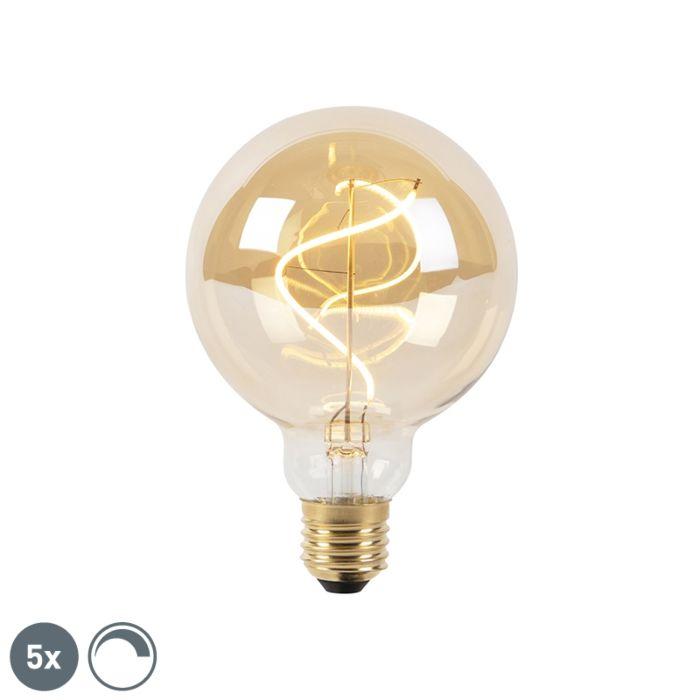 Lot-de-5-lampes-à-incandescence-à-filament-LED-E27-dimmable-G95-goldline