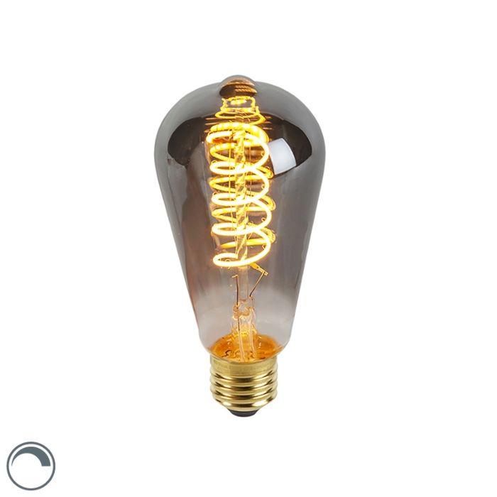 E27-dimmable-LED-lampe-à-filament-torsadé-fumée-ST64-100-lm-2100K