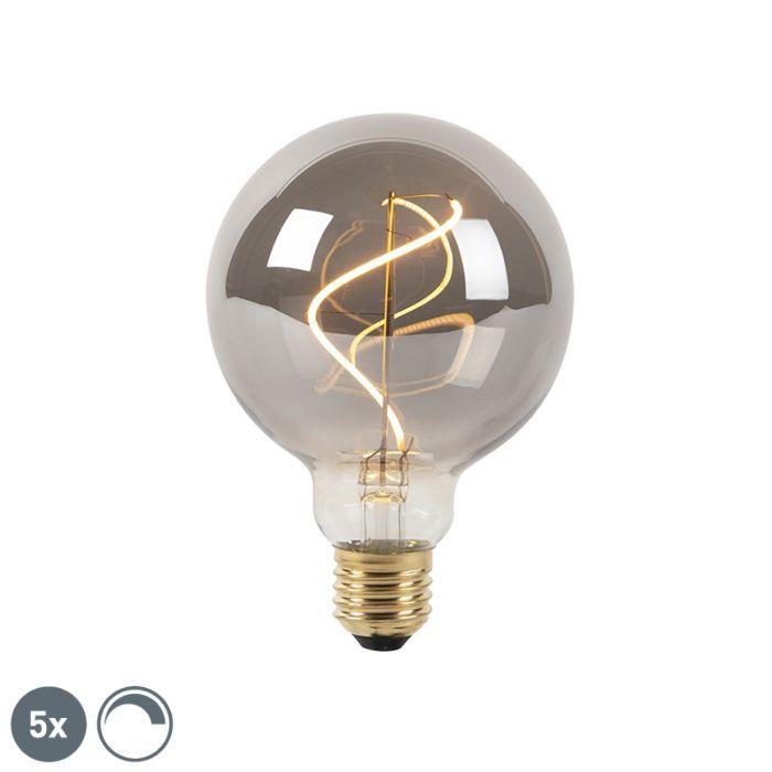 Lot-de-5-lampes-à-incandescence-LED-à-intensité-variable-E27-fumée-G95-2100K