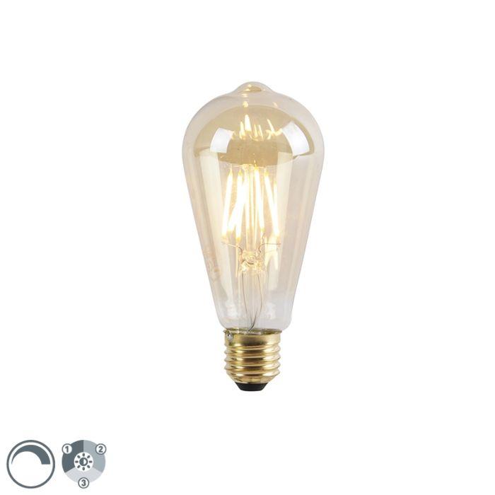 Lampe-LED-E27-dimmable-3-niveaux-ST64-goldline-5W-550-lm-2200K