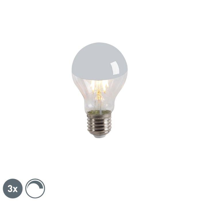 Lot-de-3-LED-tête-de-lampe-à-incandescence-miroir-E27-240V-4W-300lm-A60-dimmable