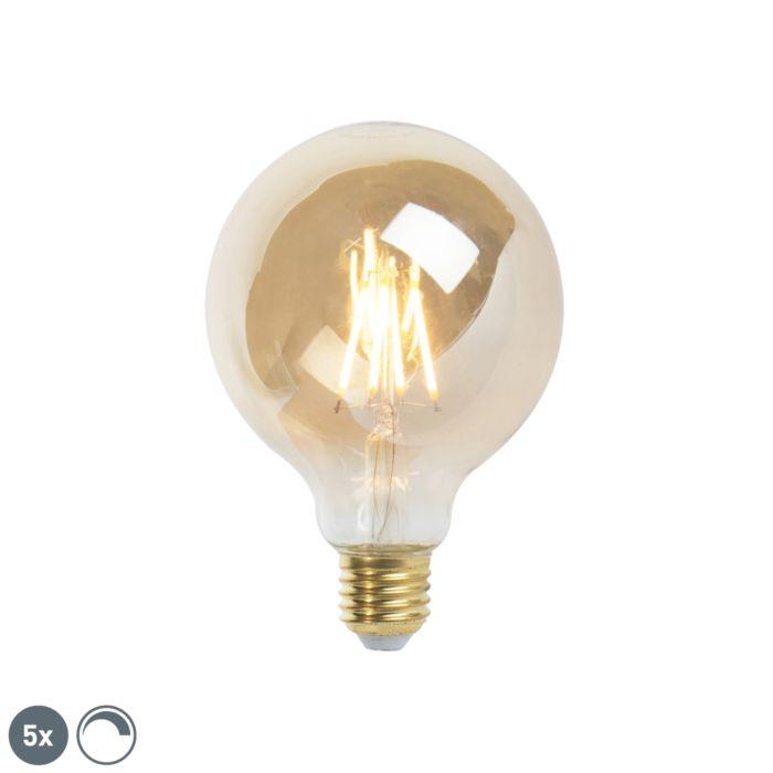 Ensemble-de-5-lampes-à-filament-à-LED-réglables-E27,-9,5-cm,-5W,-360-lumens,-2200K