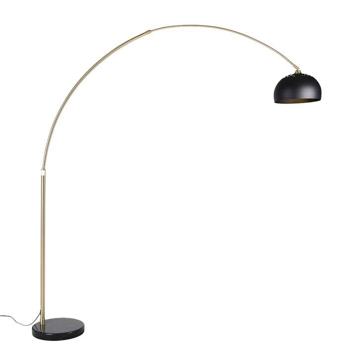 Lampe-à-arc-moderne-en-laiton-avec-base-en-marbre-et-abat-jour-noir-32,5-cm---XXL