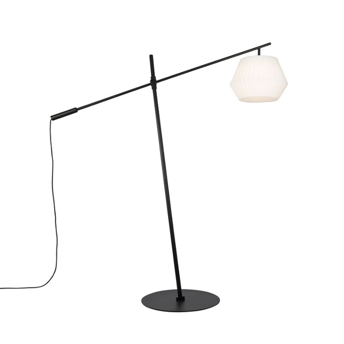 Lampadaire-d'extérieur-design-noir-IP44-avec-abat-jour-blanc---Virginia