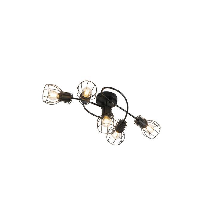 Plafonnier-moderne-noir-59-cm-5-lumières---Botu