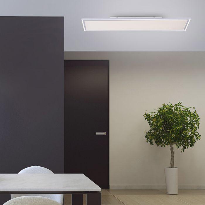 Plafonnier-blanc-121-cm-avec-LED-et-télécommande---Luntani