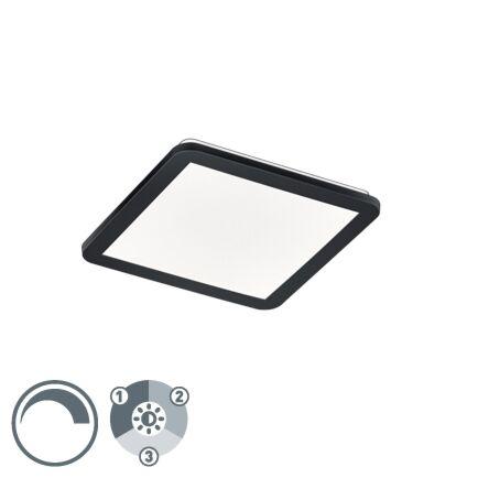 Plafonnier-carré-noir-30-cm-avec-LED-dimmable-en-3-étapes-IP44---Lope