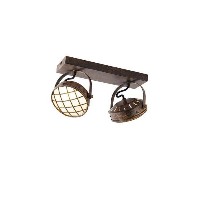Spot-vintage-brun-rouille-2-lumières---Tamina