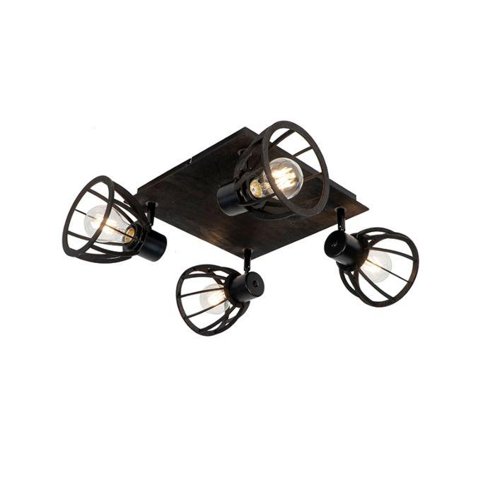 Plafonnier-industriel-noir-4-lumières---Fotu