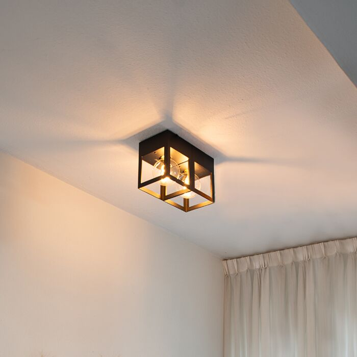 Plafonnier-moderne-noir-2-lumières---Cela