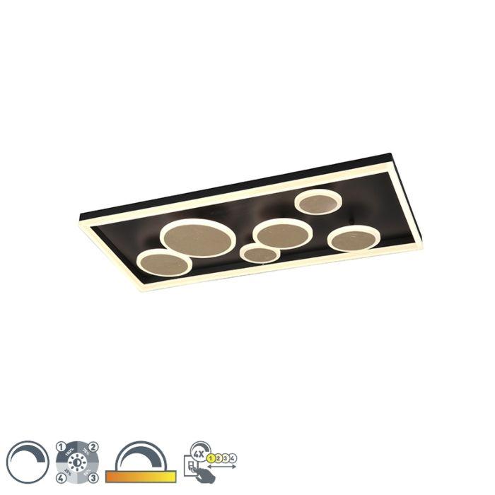 Plafonnier-design-noir-80-cm-avec-LED-dimmable---Nicky