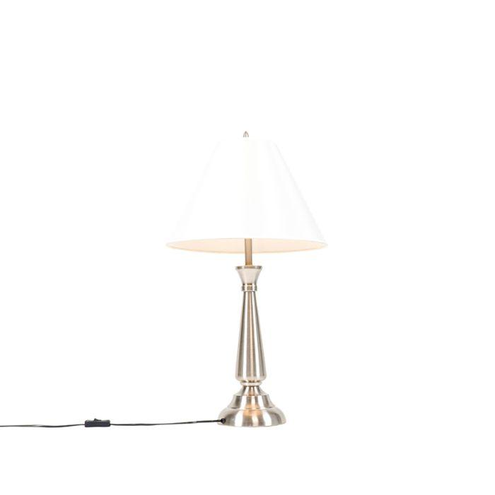 Lampe-de-table-classique-en-acier-avec-abat-jour-crème---Taula