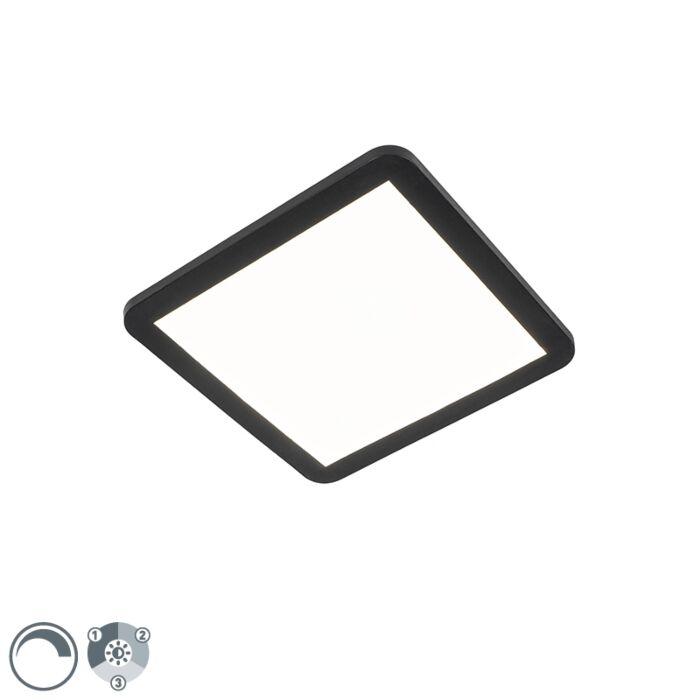 Plafonnier-noir-30-cm-avec-LED-dimmable-en-3-étapes-IP44---Steve