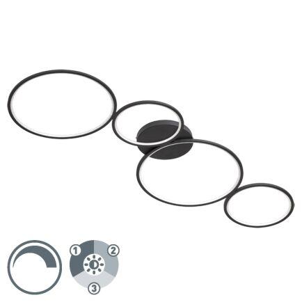 Plafonnier-design-noir-avec-LED-dimmable-en-3-étapes---Lupolo