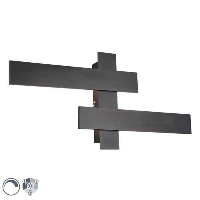 Applique-moderne-noire-avec-LED-dimmable-3-niveaux-2-lumières---Lisa
