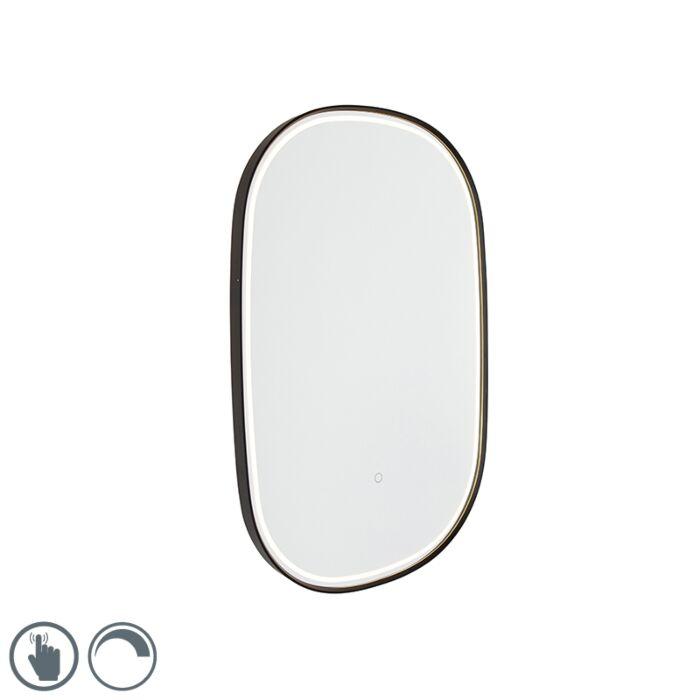 Miroir-de-salle-de-bain-noir-avec-LED-avec-variateur-tactile-ovale---Miral