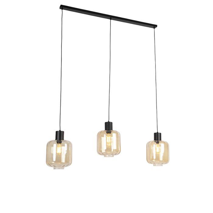 Lampe-à-suspension-design-noir-avec-verre-ambré-3-lumières-161,5-cm---Qara