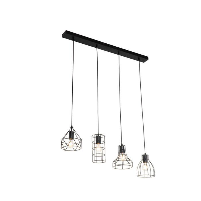 Suspension-industrielle-noire-4-lumières---Esva