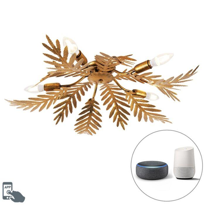 Plafonnier-Vintage-Smart-doré-avec-5-WiFi-E14---Botanica