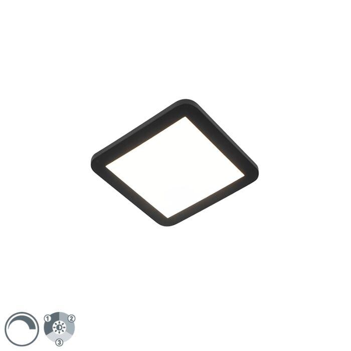 Plafonnier-noir-22,5-cm-avec-LED-dimmable-en-3-étapes-IP44---Steve