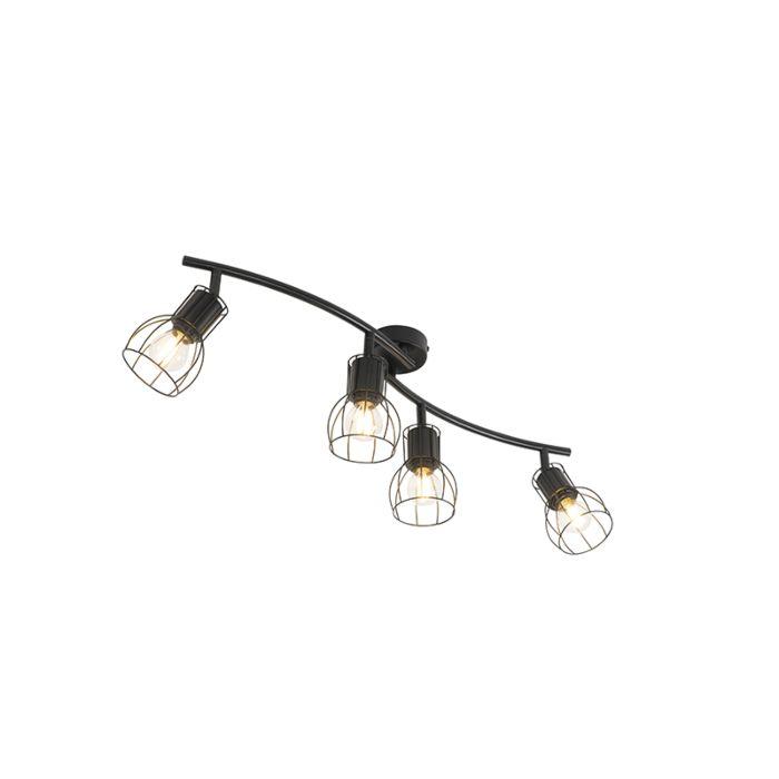 Plafonnier-moderne-noir-86-cm-4-lumières---Botu