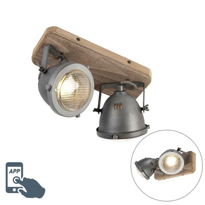 Smart-spot-industriel-gris-avec-bois-avec-2-WiFi-GU10---Emado