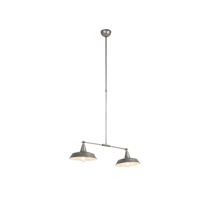 Lampe à suspension industrielle argent 2 lumières réglable ...