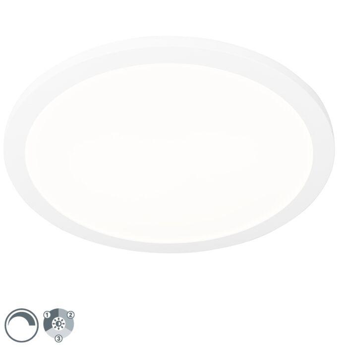 Plafonnier-blanc-40-cm-avec-LED-dimmable-en-3-étapes-IP44---Steve