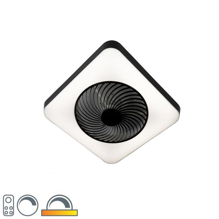Ventilateur-de-plafond-carré-noir-avec-LED-dimmable---Climo