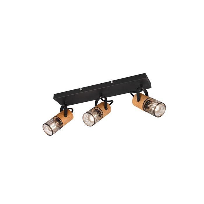 Plafonnier-industriel-noir-avec-bois-3-lumières---Manon