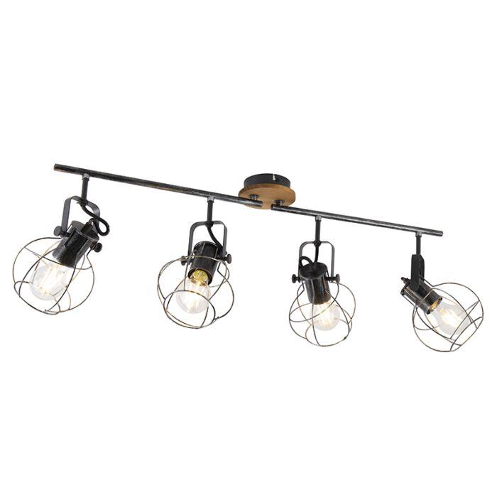 Spot-plafond-industriel-acier-avec-bois-83-cm-4-lumières--Torce