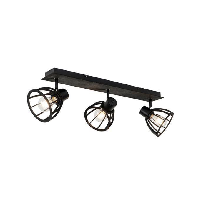 Plafonnier-industriel-noir-3-lumières---Fotu