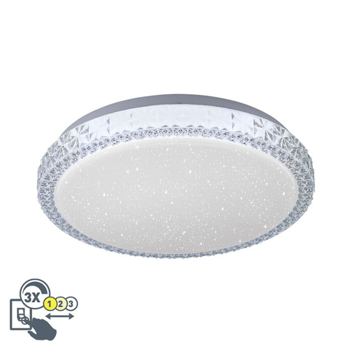 Plafonnier-blanc-30-cm-avec-LED-dimmable-avec-ciel-étoilé---Jona