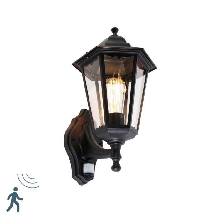Lanterne-murale-d'extérieur-noire-avec-détecteur-de-mouvement-IP44---New-Orleans