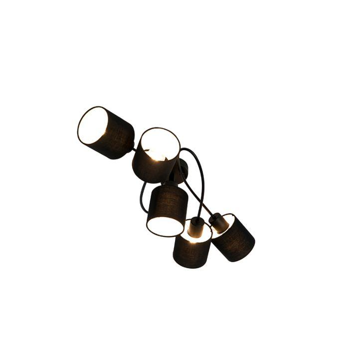 Plafonnier-moderne-noir-5-lumières---Hetta