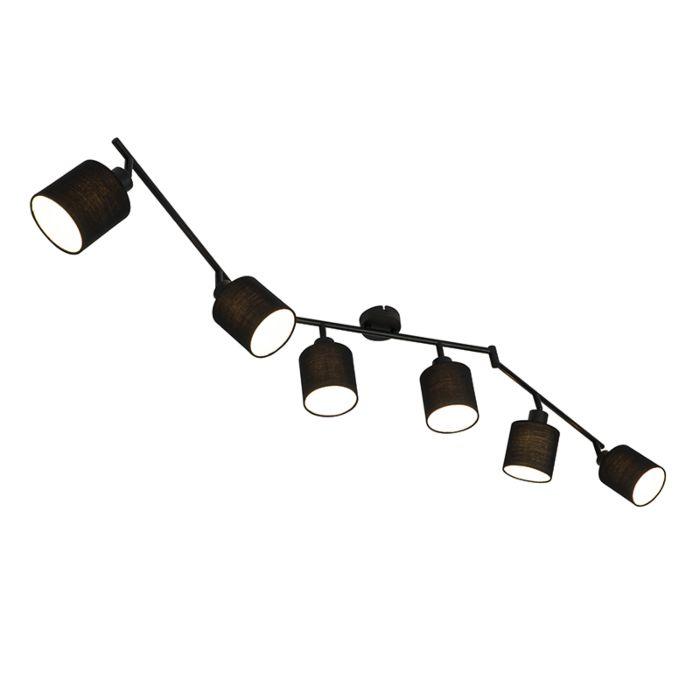 Spot-moderne-noir-réglable-à-6-lumières---Hetta