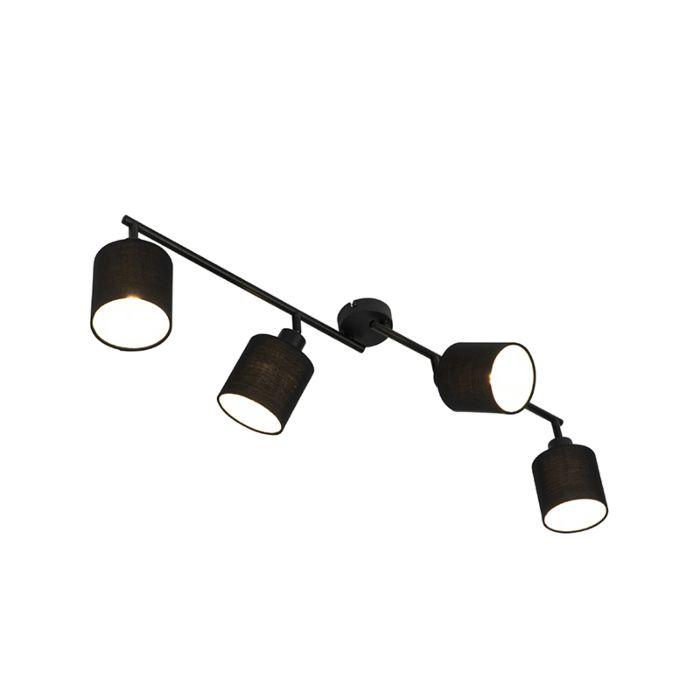Plafonnier-moderne-noir-89,5-cm-réglable-4-lumières---Hetta