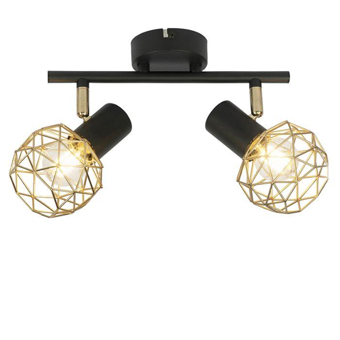 Spot-design-noir-avec-or-2-lumières---Maille