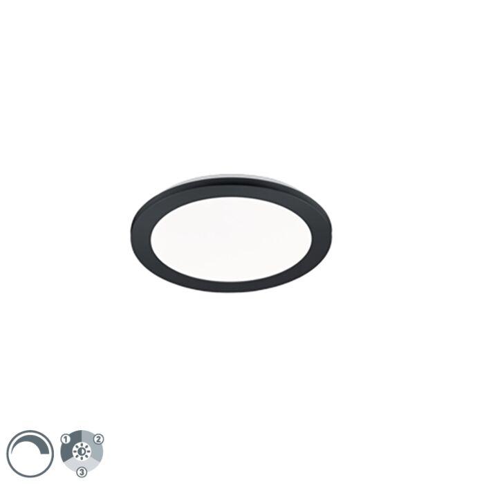 Plafonnier-rond-noir-26-cm-avec-LED-dimmable-en-3-étapes-IP44---Lope
