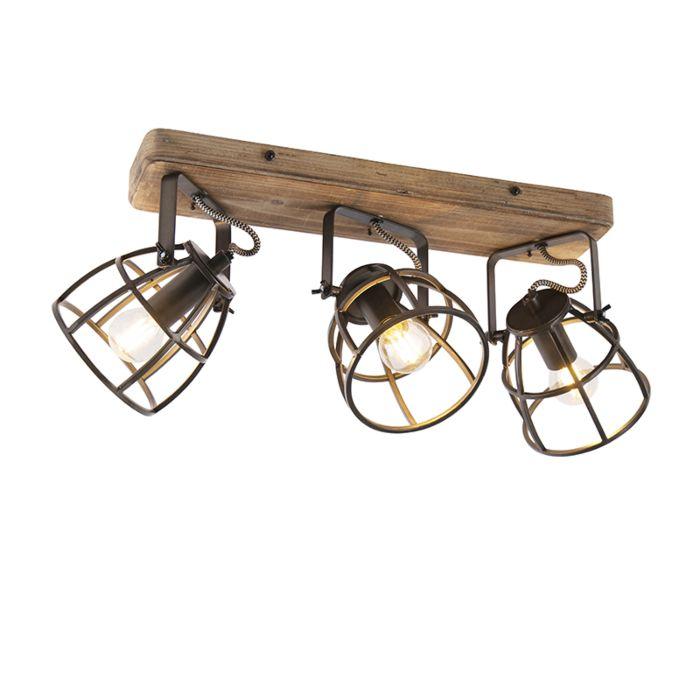 Spot-industriel-noir-avec-3-lumières-orientables-en-bois---Arthur