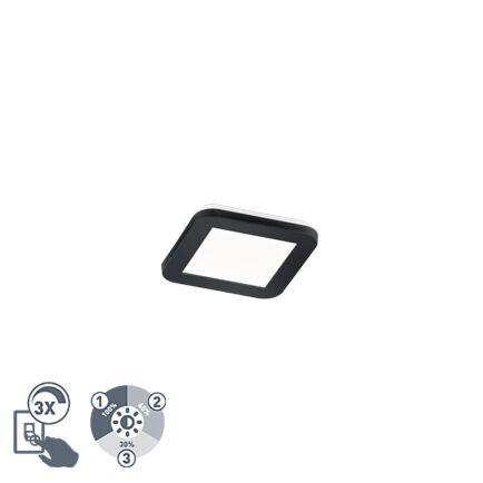 Plafonnier-carré-noir-17-cm-avec-LED-dimmable-en-3-étapes-IP44---Lope