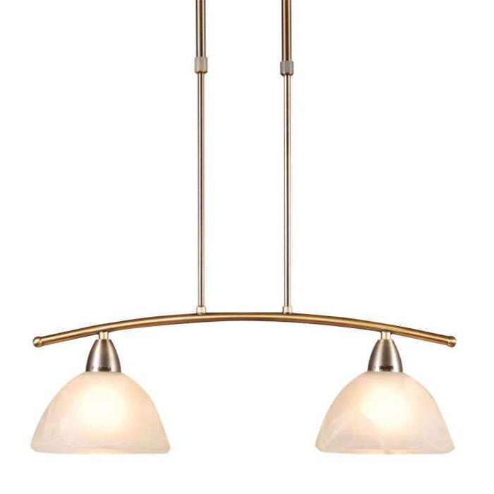 Suspension-Firenze-2-lumières-Murano-en-or-mat