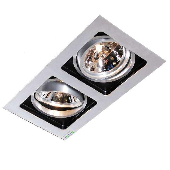 Ensemble-2-spots-encastré-Qure-aluminium
