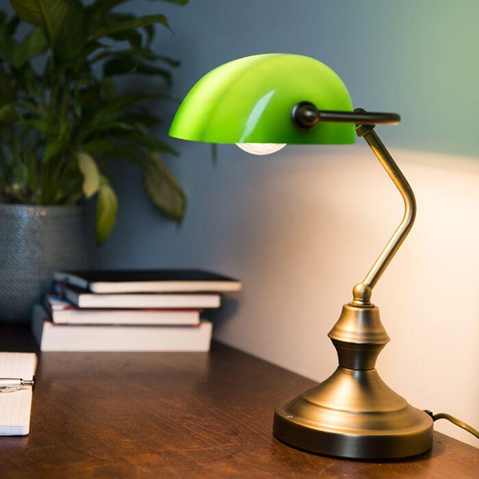 Lampe-de-notaire-Banker-vert/cuivre/bronze