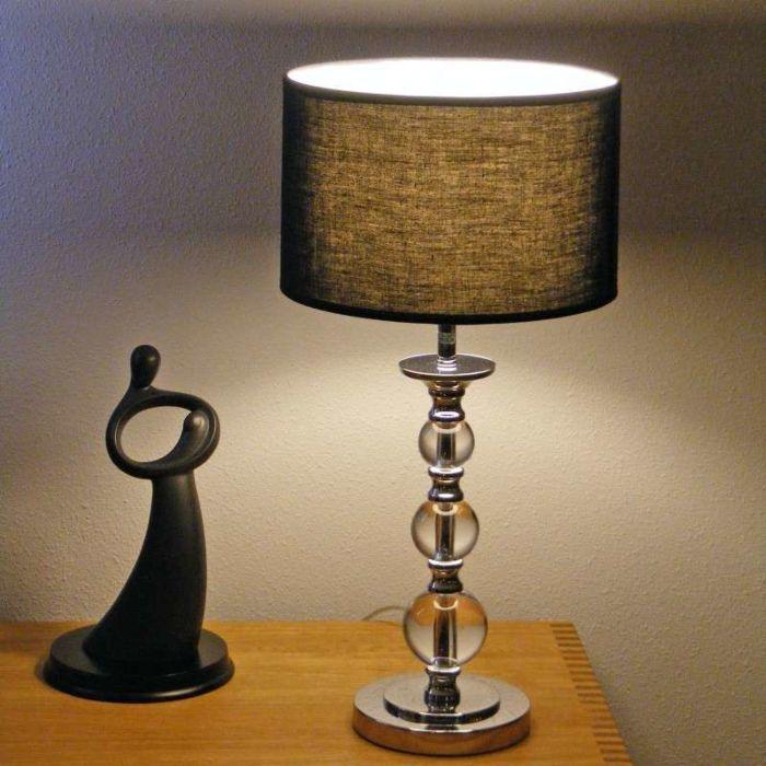 Lampe-de-table-Calabash-en-chrome-avec-abat-jour-noir