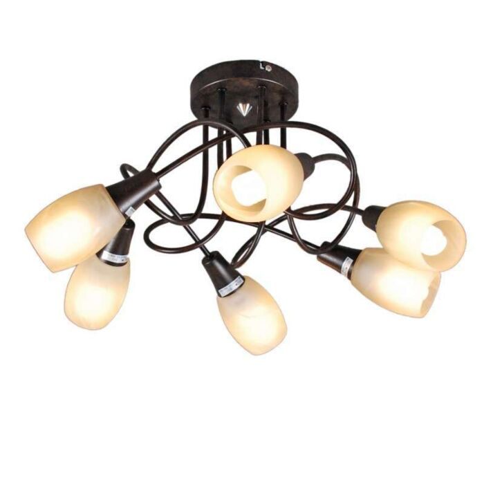 Plafonnier-Andrea-6-lumières-acier-rouille