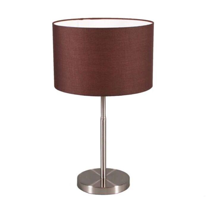 Lampe-de-table-Drum-abat-jour-marron