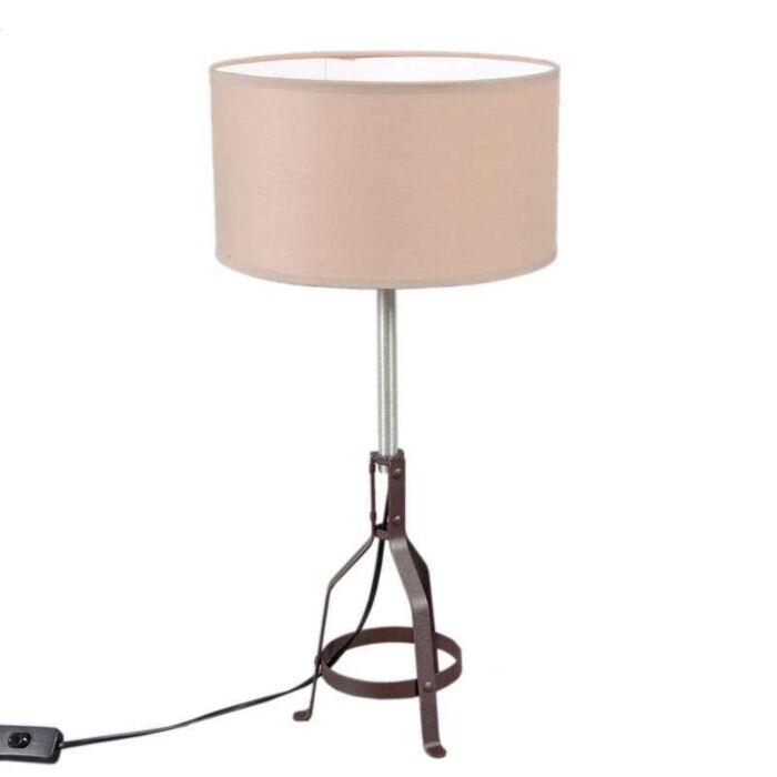 Lampe-de-table-Metallo-chocolat-avec-abat-jour-beige