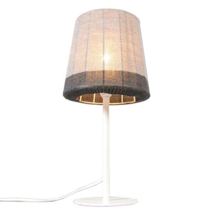 Lampe-de-table-Maglia-blanc-et-gris