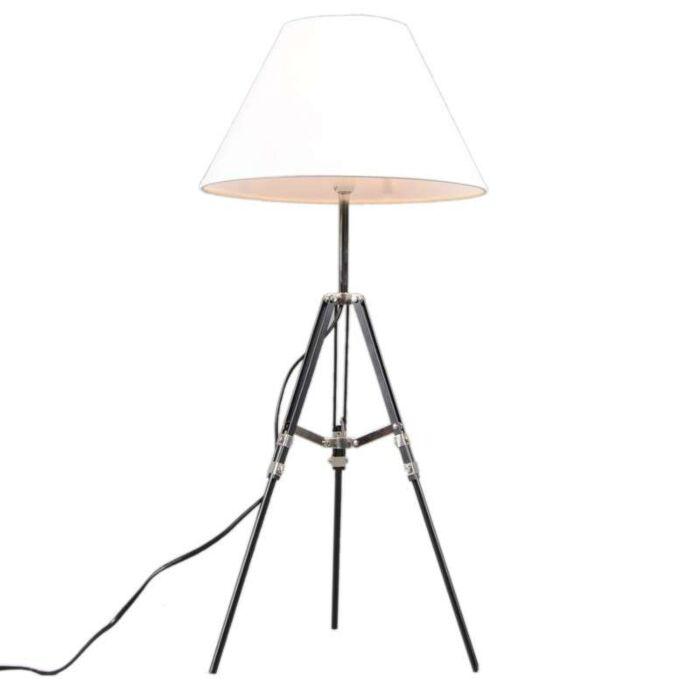 Lampe-de-table-Tripod-noir-abat-jour-blanc